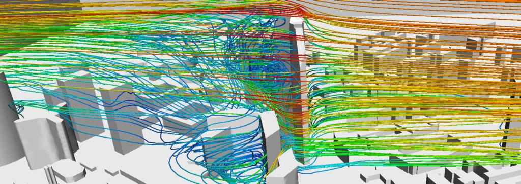 Etude CFD du vent et des pressions d'une tour à la Défense
