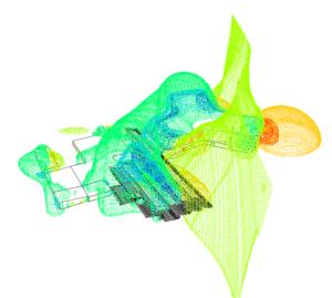 Répartition des pression par CFD autour d'un bâtiment - isosurface