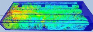 Simulation aéraulique du brassage d'air d'un grand volume